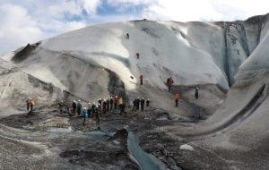 Big group doing ice climbing