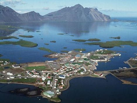 Aerial view of Höfn with mountains in background