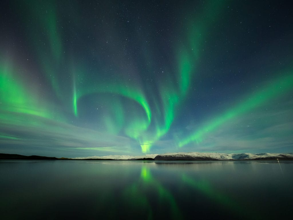 Northern Lights in Iceland above a glacier
