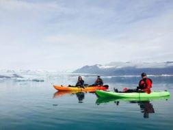 Jökulsárlón and Glacier lagoon in Iceland, Paddling